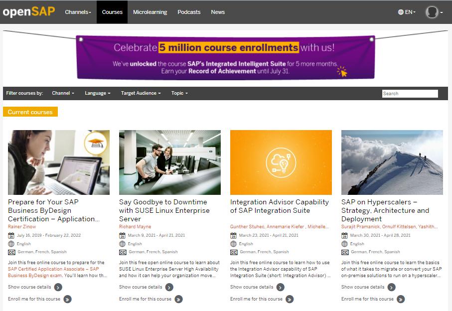 Khóa học trực tuyến openSAP MOOCs miễn phí cho tất cả mọi người